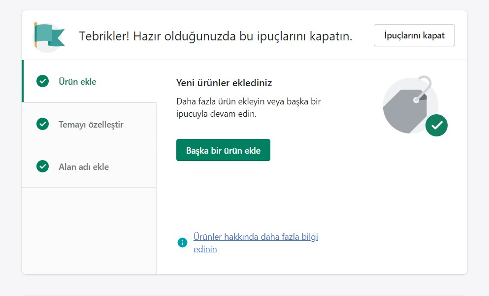 Shopify Karşılama Ekranı