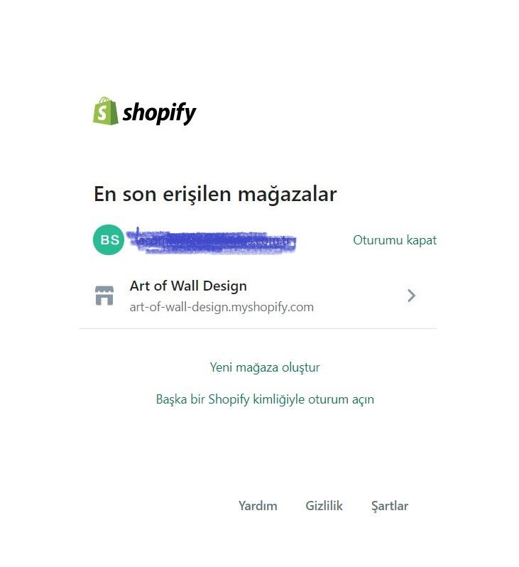 shopify giriş penceresi